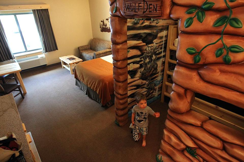 "One of the suites at the resort has a child-friendly ""wolf den."""